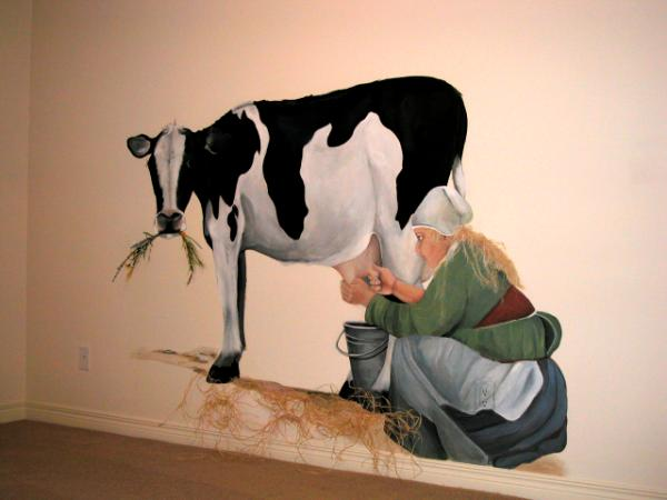 Milkmaid and cow
