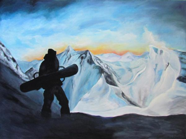snowboarder at sunset