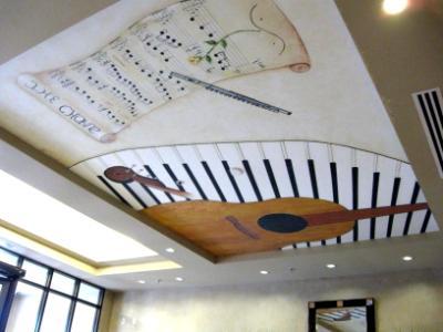 Guitar,piano, flute & scroll mural
