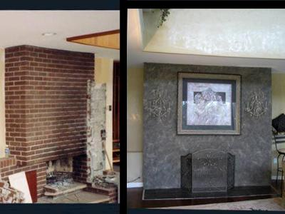 Old brick fireplace transformed into faux slate