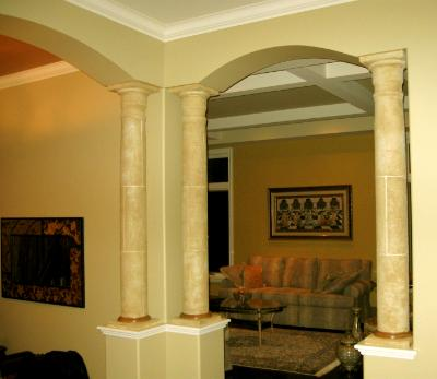 Natural stone finish with grout lines