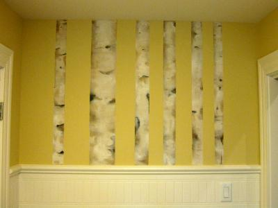 Birch trees in Laundry room