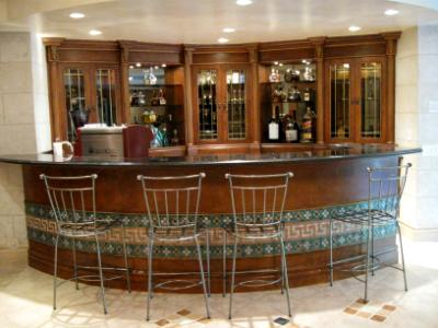 Antiqued bar and cabinets
