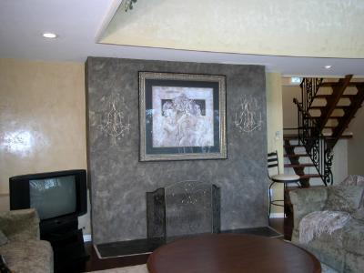slate stone finish with venetian plaster wall
