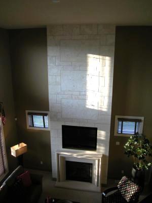 Indiana Limestone faux block on 18 ft fireplace