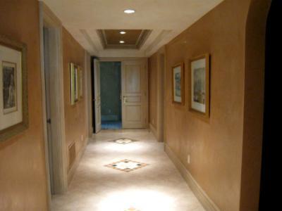 Venetian plaster walls, antique doors and frames