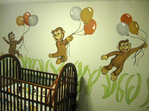 Curious george mural fine art murals custom paintings for Curious george mural