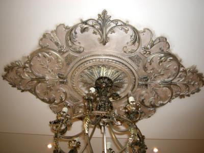 Bronzed plaster medalion to match chandelier