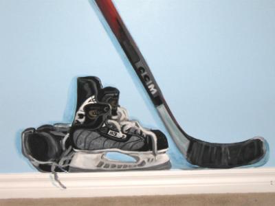 Trompe L'oeil hockey stick and skates